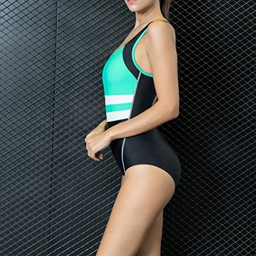 Zhhlinyuan Hot Women's Sports Swimsuit nadando costume Fashion Beach swimwear 7722# Black&Green