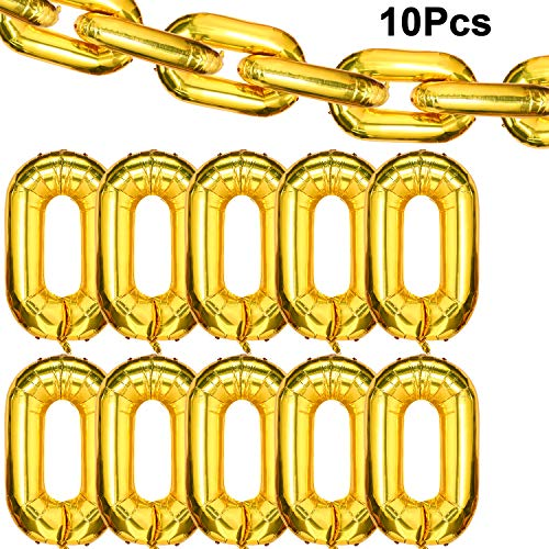 10 Pieces 40 Inch Foil Chain Balloons Chain Balloon Links Gold Linking Chains Balloons for 80s 90s Hip Hop Theme Birthdays Weddings Graduations