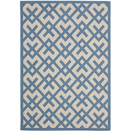Safavieh Courtyard Collection CY6915-243 Beige and Blue Indoor/ Outdoor Area Rug (4' x 5'7