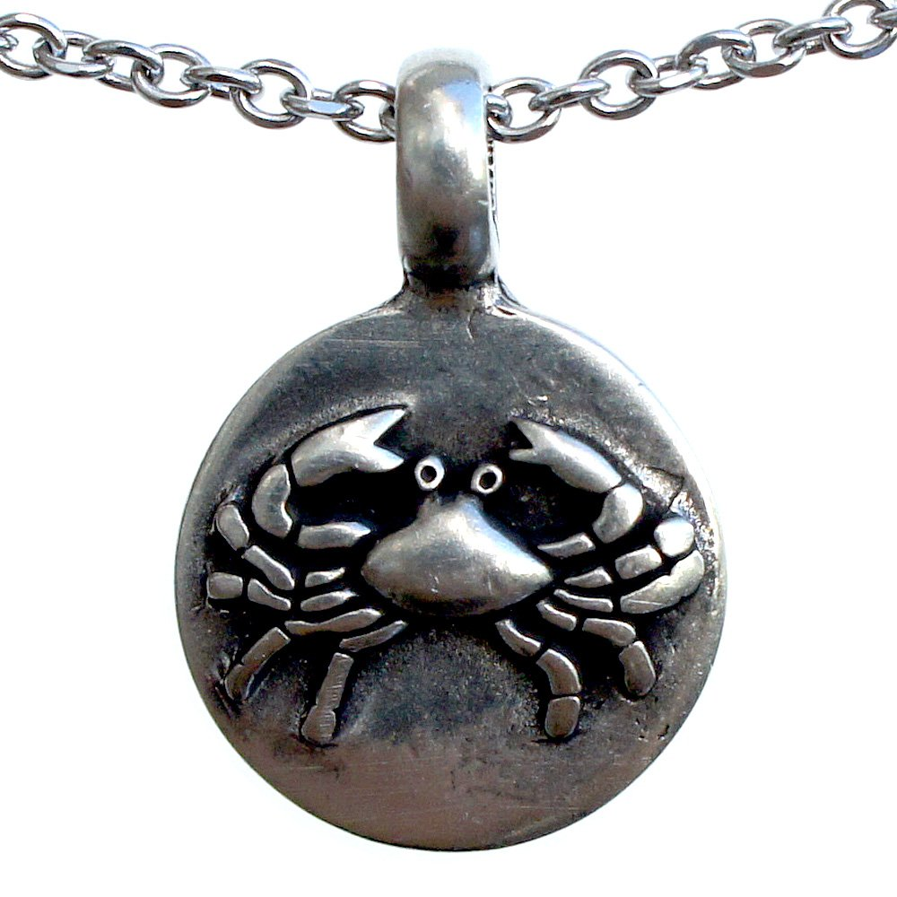 Cancer 22 June – 22 July Zodiac sign pewter pendant Stainless Steel Necklace
