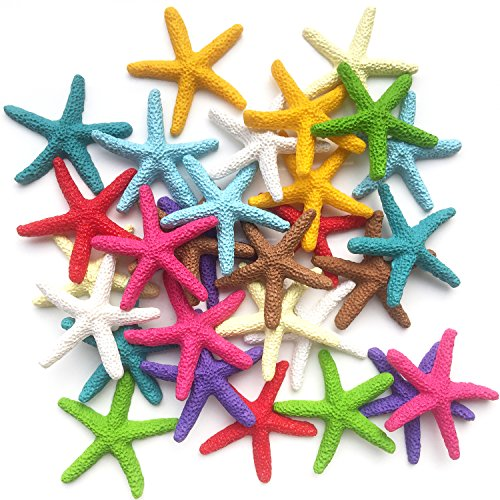 Toosunny 30 Pieces Starfish Decor, Colorful Resin Pencil Finger Starfish Decorative & Dried Starfish Ornaments for Wedding Party Christmas, Home and Crafts Project by Toosunny