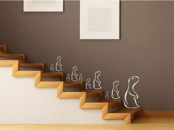 Wandtattoo Familie Mit 10 Erdmännchen Treppe Flur Wohnzimmer M165 Azurblau  Set