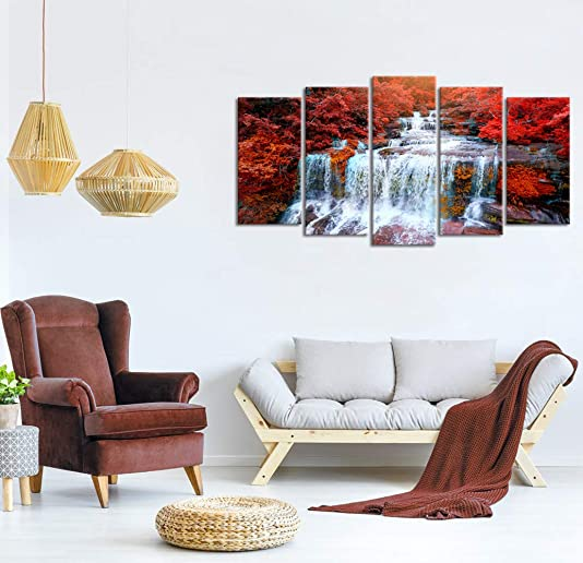 Visual Art Decor Large Canvas Wall Art Red Trees Forest Waterfall Landscape Picture Prints Modern Home Living Room Office Wall Decoration Ready to Hang 01 5 Piece