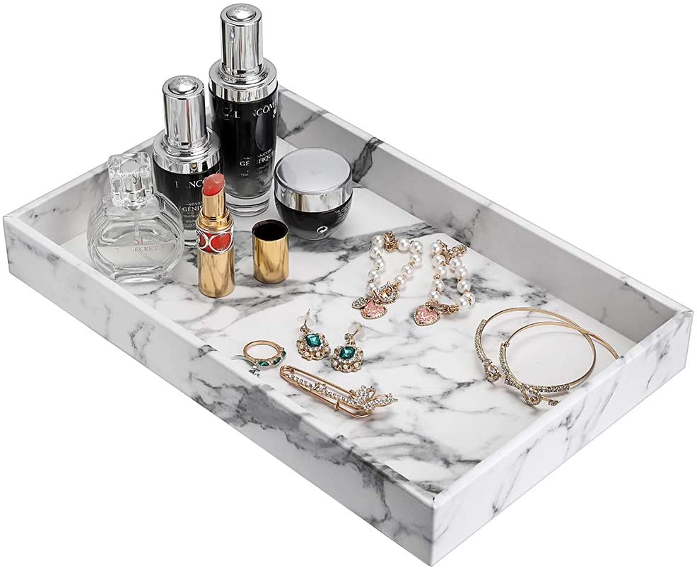 Hipiwe Desktop Organizer Tray - Faux Leather Vanity Tray Dresser Perfume Tray Cosmetics Storage Tray Home Decorative Catchall Tray for Bath Bathroom, Marbling White