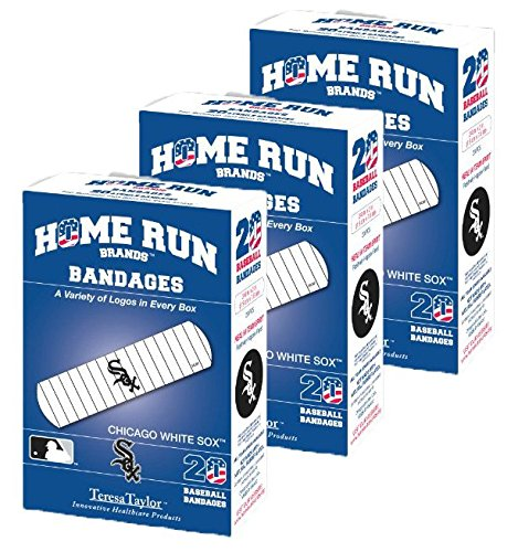 Set of 3 Boxes (60 total bandages) Home Run Brands Chicago White Sox Bandages