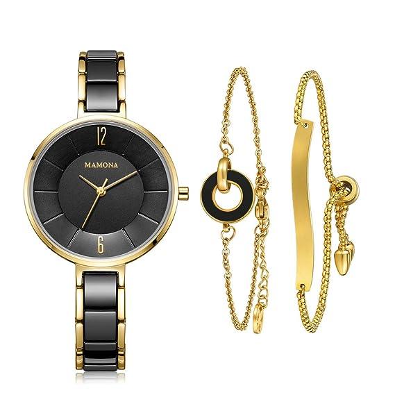 MAMONA Reloj de Mujer y Juego de Regalo de Brazalete de Acero Inoxidable para Damas /Reloj de Cerámica L3887BKGT Negro: Amazon.es: Relojes