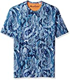 Robert Graham Men's Islets Cotton Modul Short Sleeve Knit Tee, Blue, Large