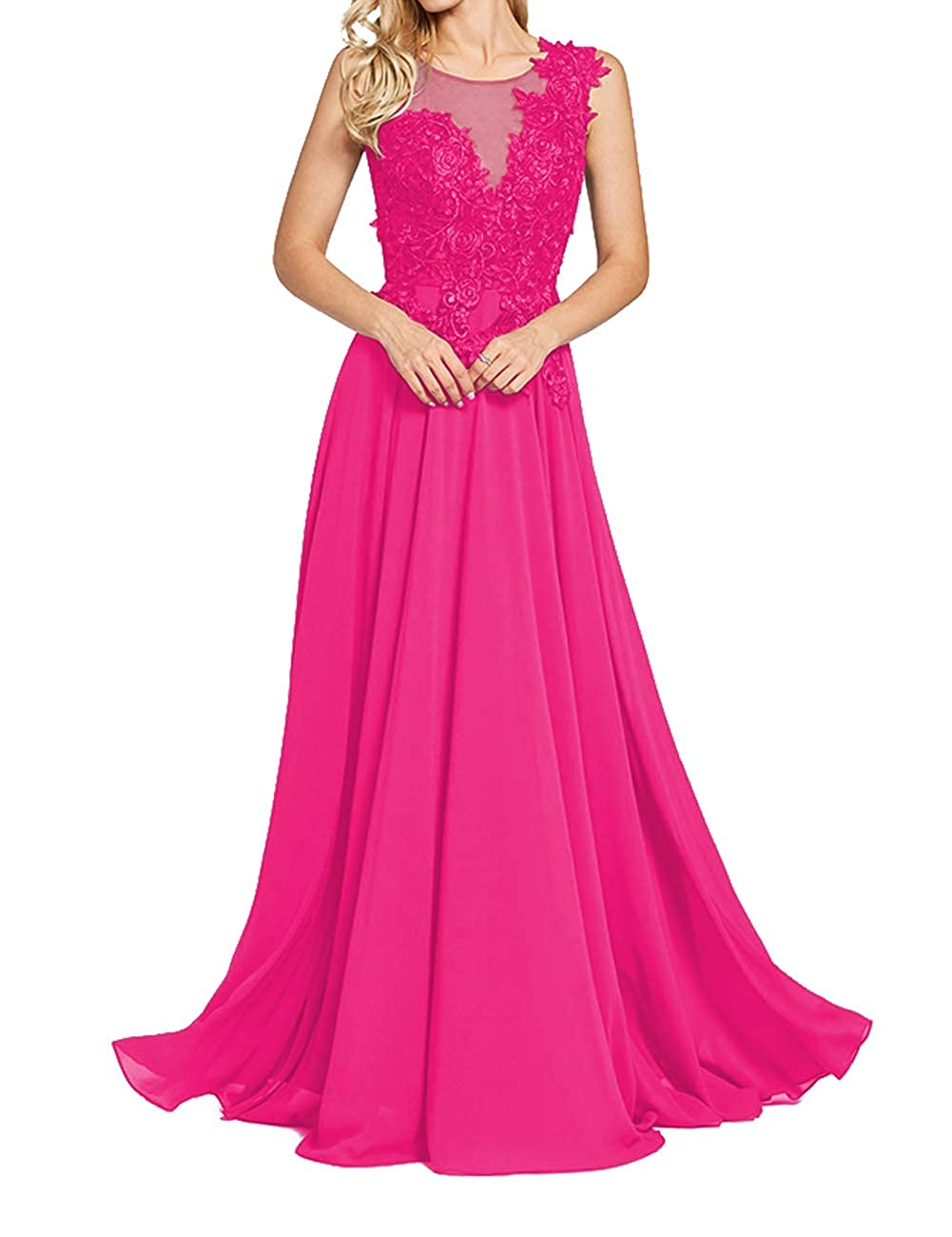 Fuchsia Uther Formal Evening Prom Dresses Long Appliques Bridesmaid Dress for Women Sleeveless