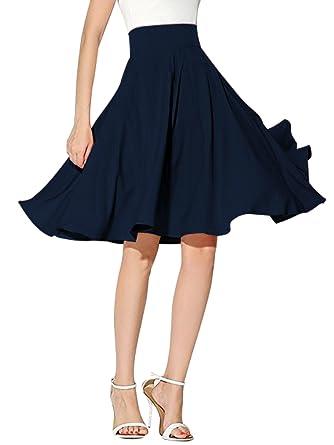 clothink mujeres Peach Rosa/Blanco High Waist Midi falda skater ...