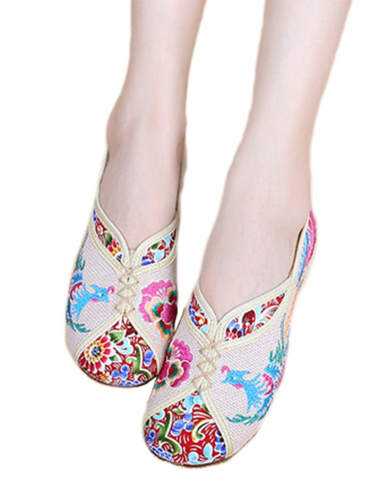 AvaCostume Traditional Phoenix Embroidery Wedge Heel Oxfords Sole Shoes, Beige, 38