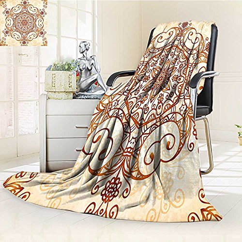 Baroque Peach - AmaPark Digital Printing Blanket Ornamental Swirled Flower Baroque Redwood Peach Summer Quilt Comforter