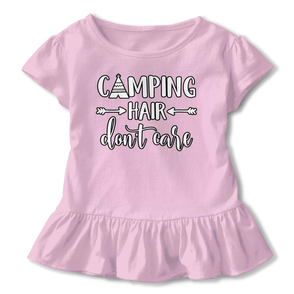 Camping Hair Dont Care Toddler Baby Girls Cotton Ruffle Short Sleeve Top Comfortable T-Shirt 2-6T