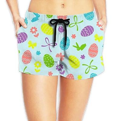NKZSUX Women's Easter Eggs Board Shorts Drawstring Waist Swimwear Beach Trunks For Outside Home With Pockets