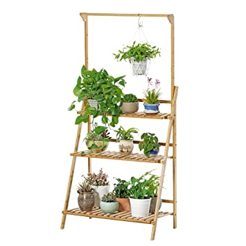 Amazoncom Wooden Flower Pot Stand Balcony Three Tiers Hanging