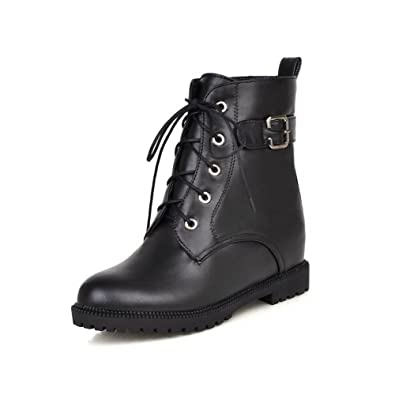 Women's Soft Material Round Closed Toe Solid Low-Top Kitten-Heels Boots Black 7 B(M) US