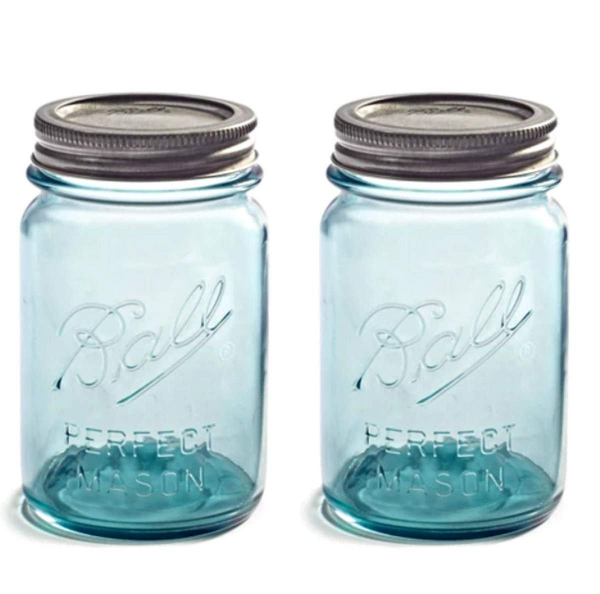 "Set of TWO Vintage Aqua/Blue BALL""Perfect Mason"" 16oz Pint Jars - Limited Collector's Edition Turn-of-the-century Design (1910-1923)"