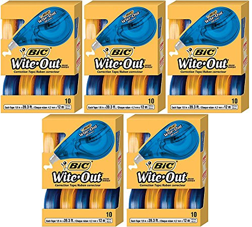 BIC Wite-Out YilOIp Brand EZ Correct Correction Tape, 10 Count (5 Pack) by BIC