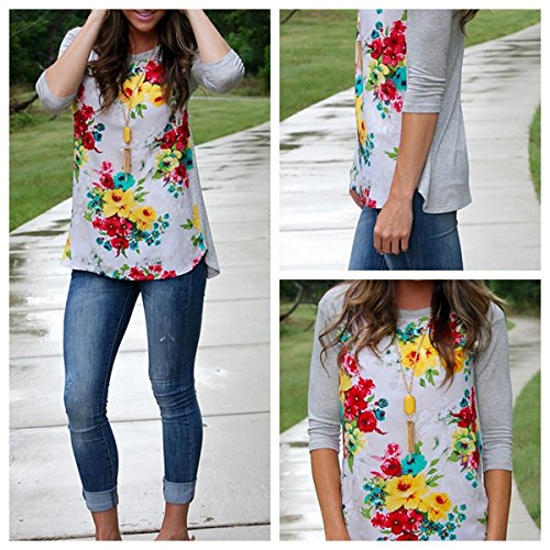 wlgreatsp Femmes Floral Splice Casual Tops Chemisier Jumper Pull Tee-Shirt Manches Longues Col RAS du Cou T-Shirt
