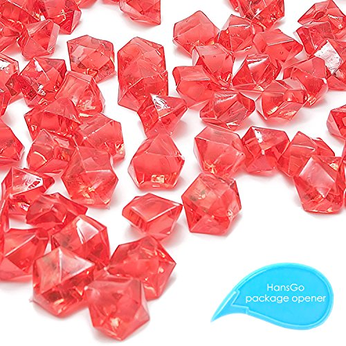 HansIce 100 Pcs Acrylic Ice Rocks, Vase Fillers, Red