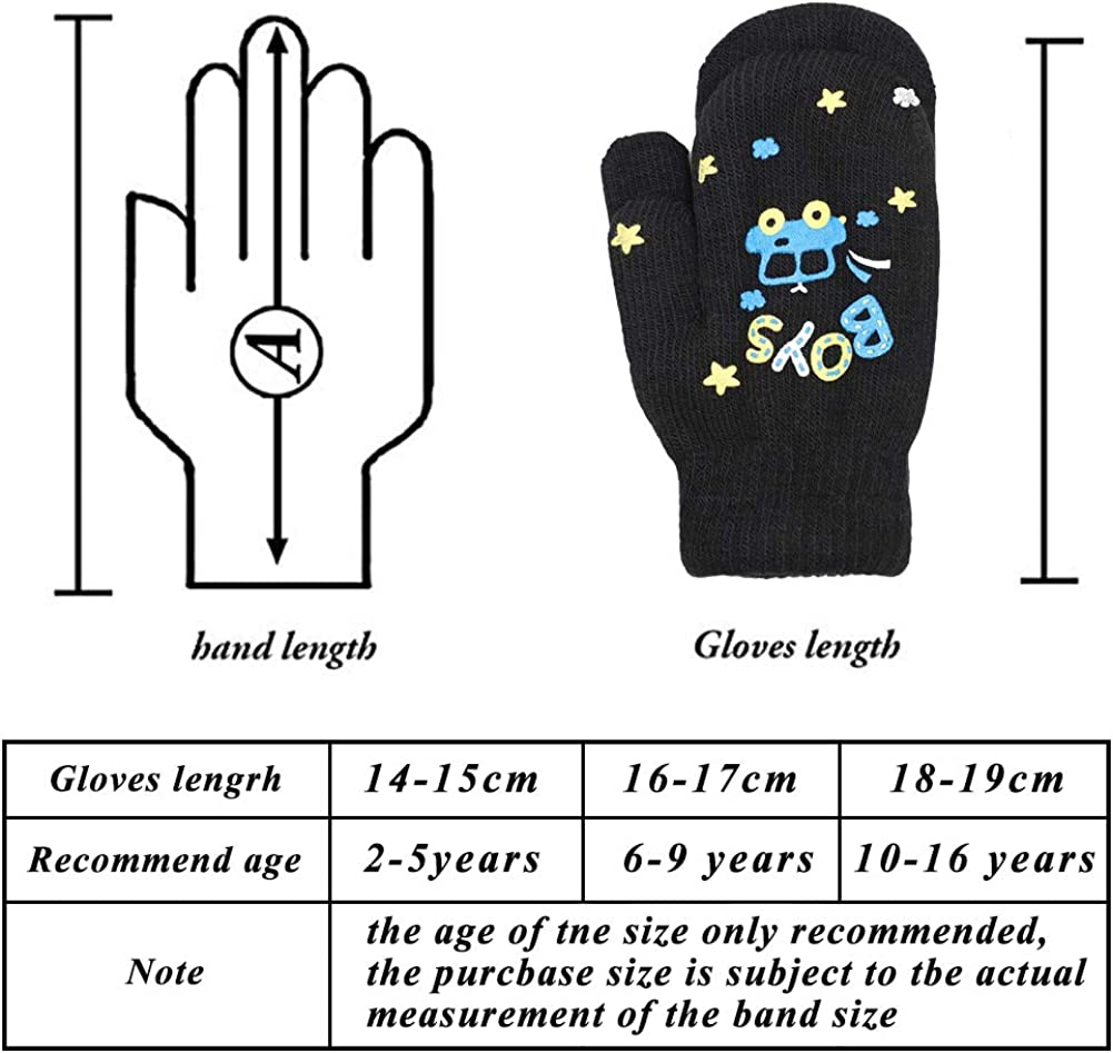 Mwfus 6 Pairs Kids Magic Stretch Gloves Full Finger Mittens Knitted Winter Warm Gloves for Boys Girls