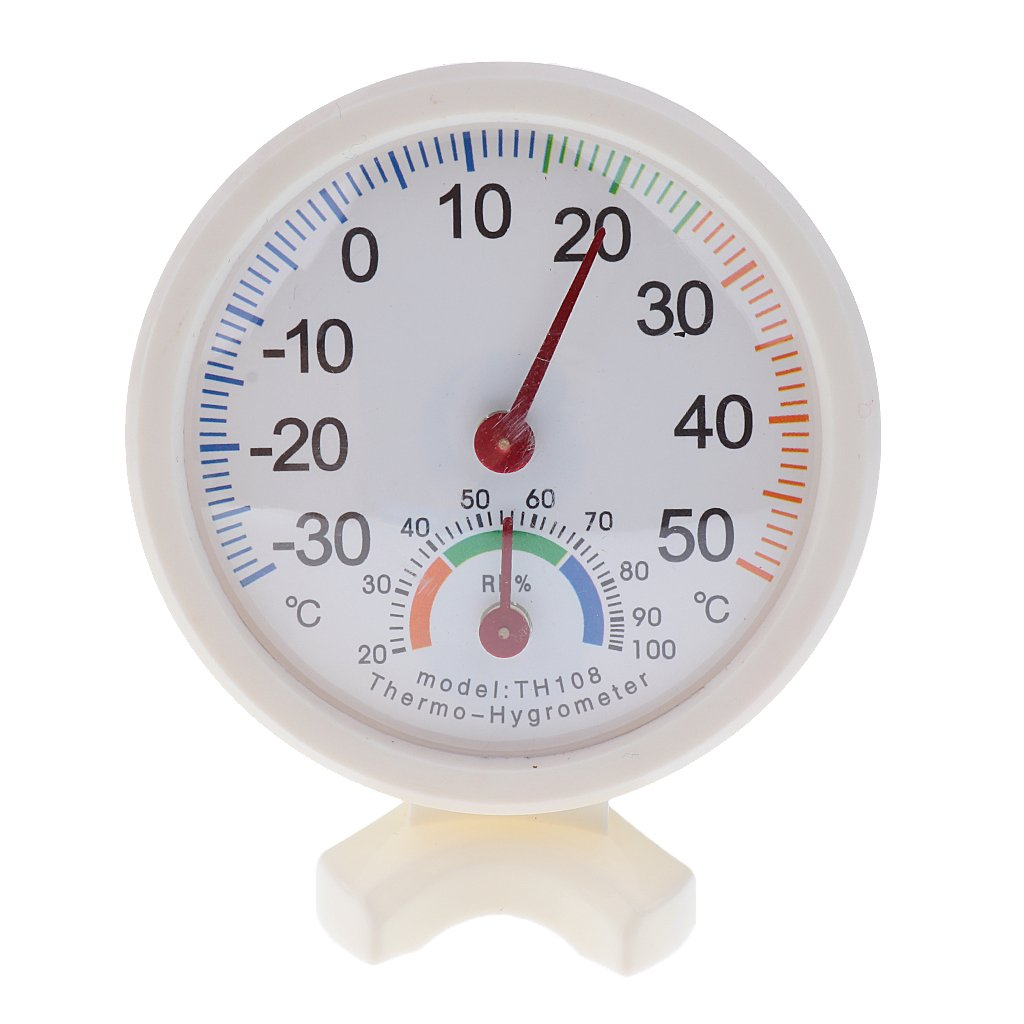 Generic Mini Indoor/Outdoor Thermo-hygrometer Temperature Humidity Test Meter Temperature Hygrometer Round, Dia.8cm