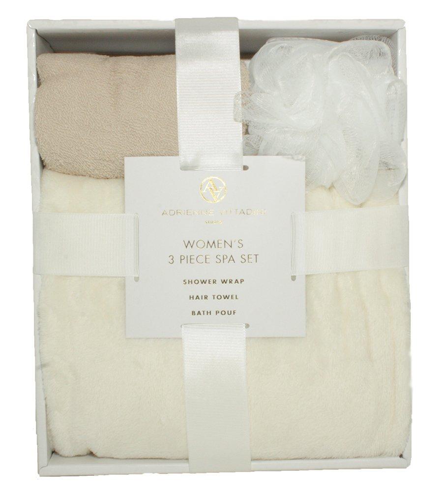 Adrienne Vittadini Women's 3 Piece Bath Body Plush Shower Towel Wrap Spa Set | Bath Body Towel Wrap with Adjustable Fastener, Hair Towel Twist, Loofah/Bath Body Sponge by Adrienne Vittadino (Image #3)
