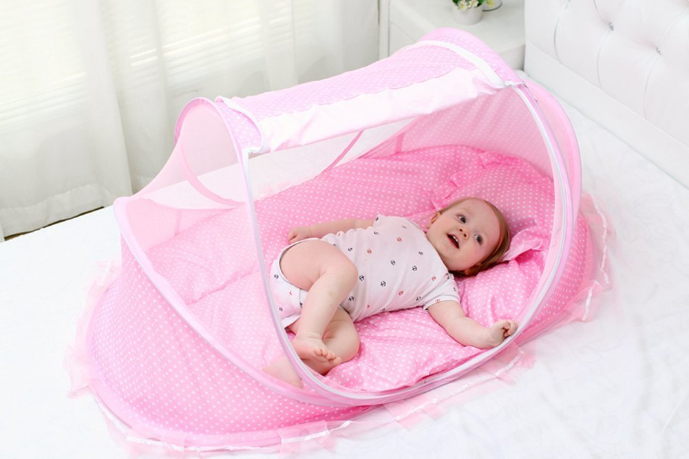 AUMEY Baby Travel Bed Crib Mosquito Ded Portable Baby Bed Folding Baby Mosquito Net Portable Baby Cots for 0-18 Month Baby (Pink)