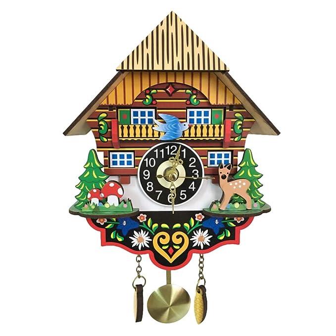 B Blesiya Reloj de Pared de Cuco con Péndulo de Madera Antiguo Adorno para Cafetería Sala de Estar Oficina Cuarto - #B: Amazon.es: Hogar