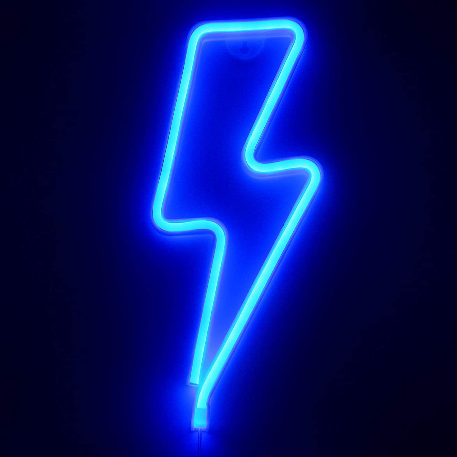 SANJICHA LED Lightning Neon Signs Bolt Lights Battery and USB Operated Art Decorative Lights Wall Décor for Birthday Gifts, Kids Bedroom, Festival Party (Blue)