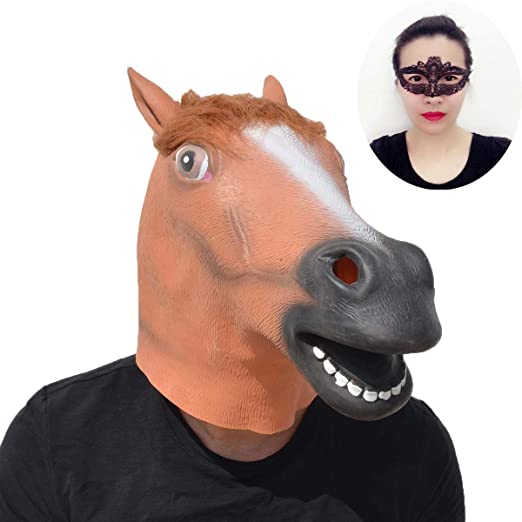 yiseng halloween decorations horse mask cosplay animal head brown horse latex mask costume plus free black
