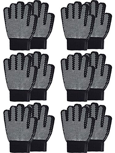(Sumind 12 Pairs Winter Knitted Magic Stretch Gloves Anti-slip Knit Cotton Warm Gloves for Children(Anti-slip Black, Kids Size 5 to 12 Years) )