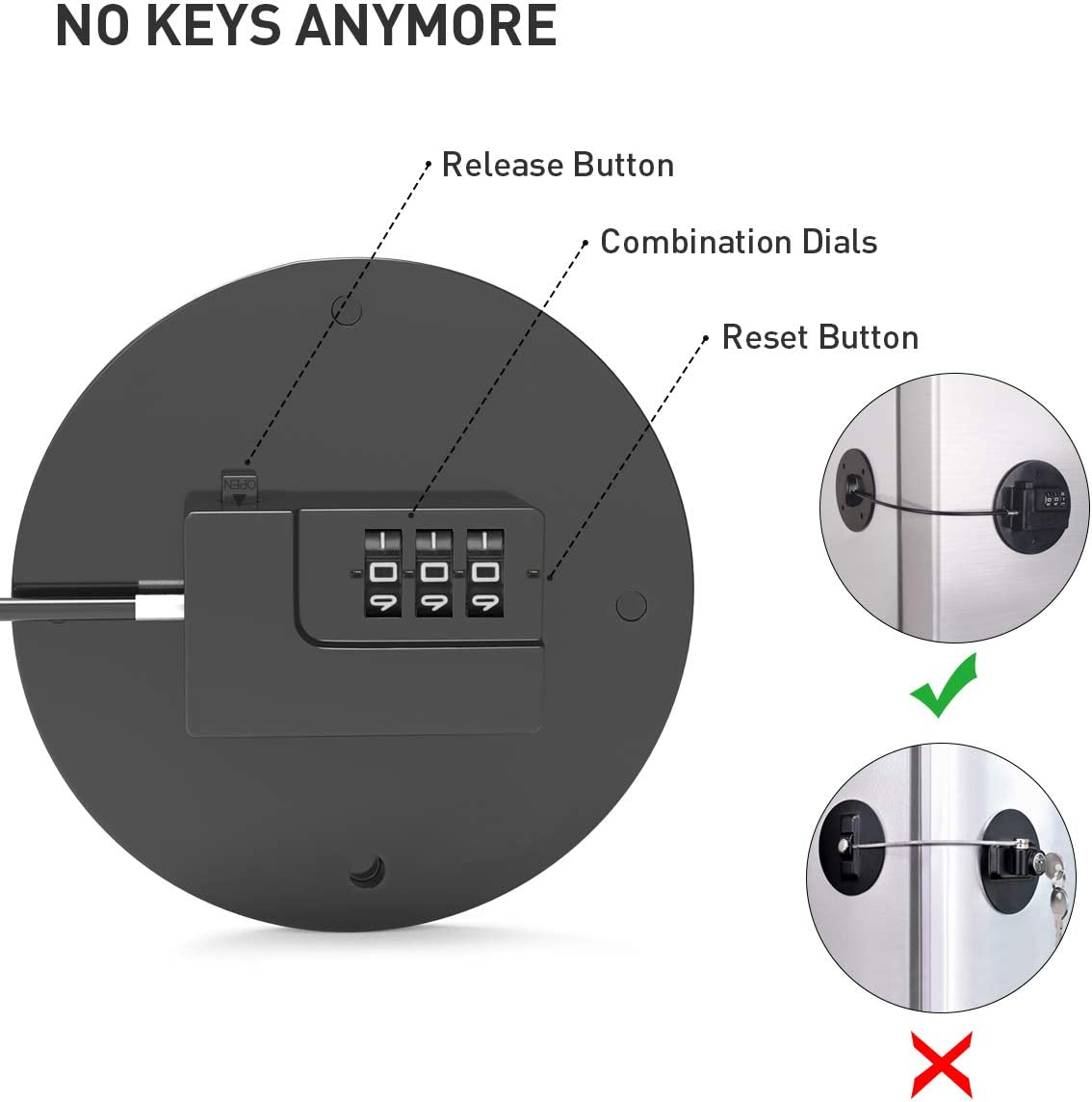 Childproof Fridge Lock with Combination Strong 3M Adhesives and Cable Upgraded Refrigerator Lock No Keys Anymore