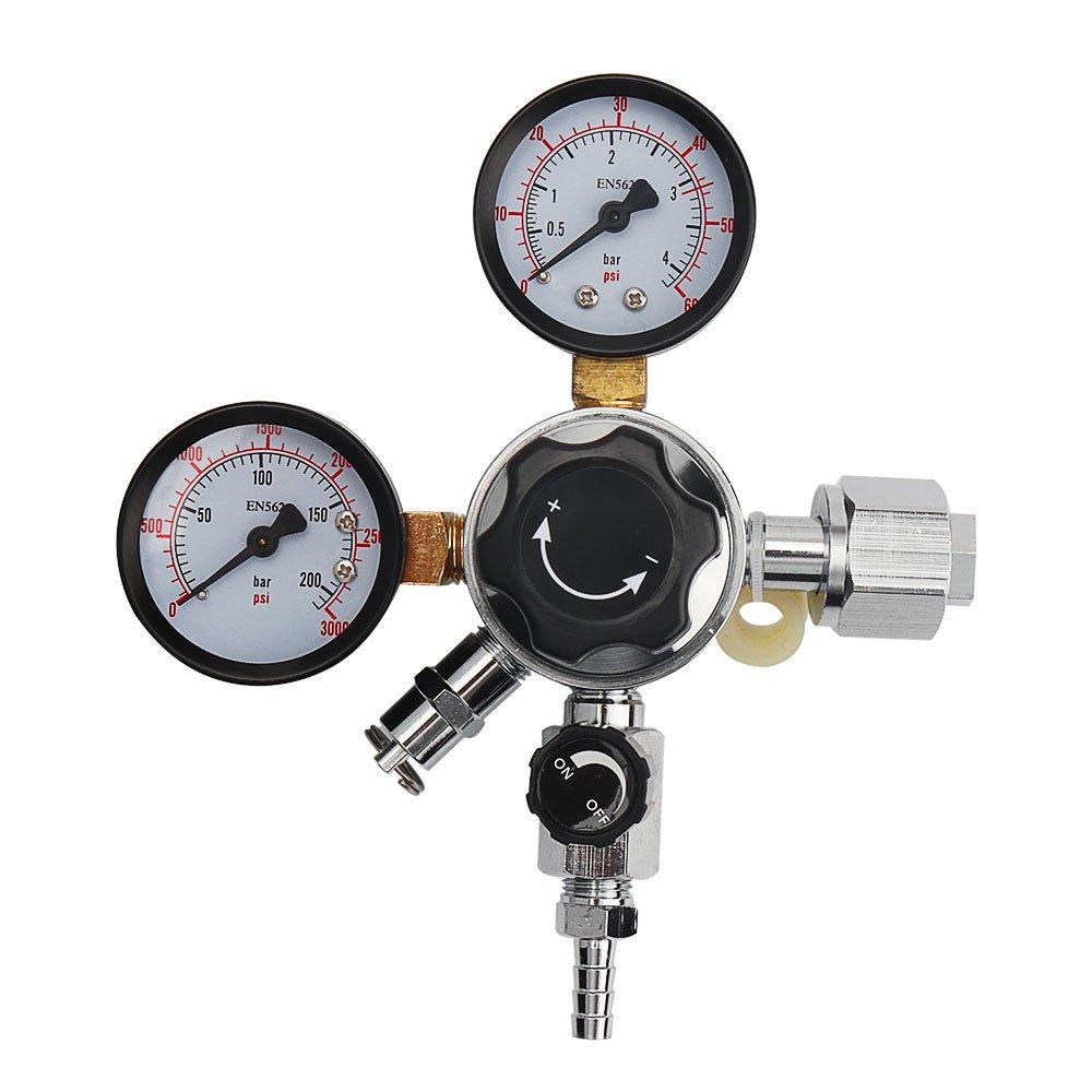 OneBom CO2 Regulator, Keg Beer Regulator CGA -320 Inlet, with Pressure Relief Valve for Gas 0-3000PSI (Dual Gauge)