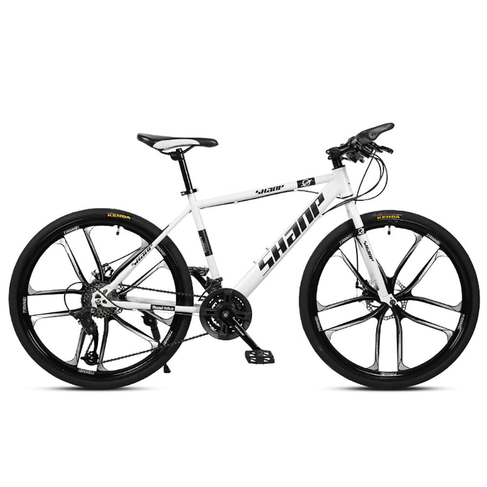 blanco FJW Unisexo Bicicleta de montaña Hardtail Estructura de Acero con Alto Contenido de Carbono 26 Pulgadas Ruedas de 10 radios Bicicleta MTB 21 24 27 30 Velocidades con Frenos de Disco,amarillo,30Speed 21Speed