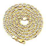 LoveBling 10K Yellow Gold 4mm Solid Pave Two-Tone Mariner Chain Necklace with Lobster Lock (30)