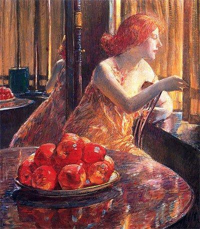 Hassam (Reflections (Kitty Hughes), 1917) Canvas Art Print Reproduction (24x20.9 in) (61x53 (Kitty Canvas Reproduction)