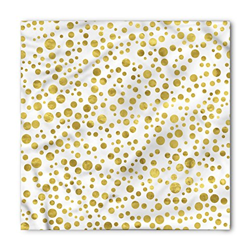 Lunarable Polka Dots Bandana, Illustration of Round Speckled Forms in Irregular Layout Artistic Vintage Style, Printed Unisex Bandana Head and Neck Tie Scarf Headband, 22 X 22 Inches, Gold White