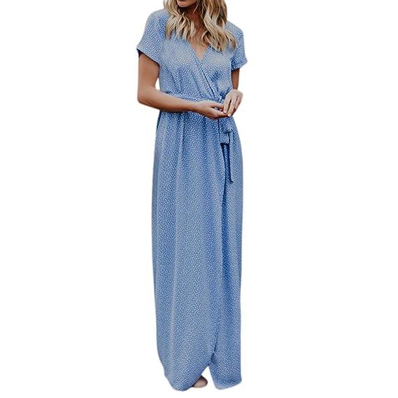 feiXIANG Faldas, Vestido de noche con estampado de lunares Boho con cuello en V y