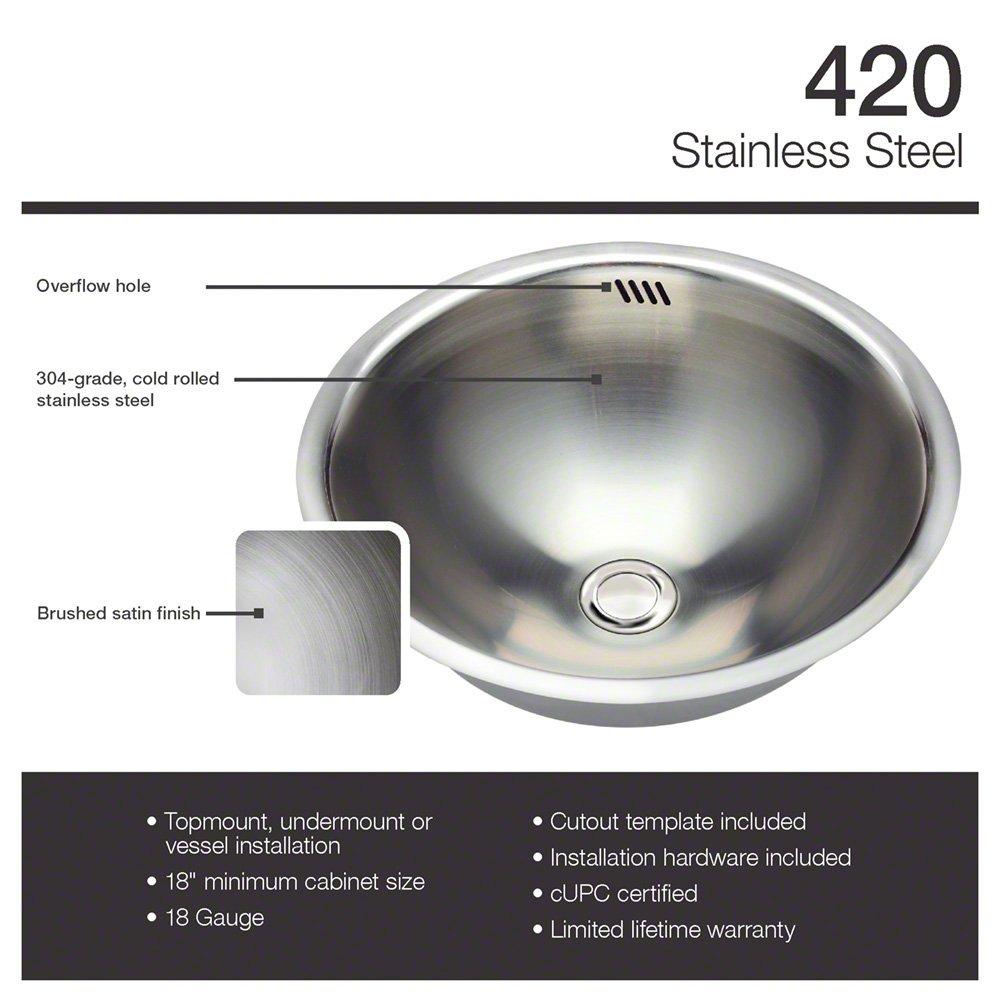 420 18-Gauge Dual-Mount Stainless Steel Bathroom Sink - Vessel Sinks ...
