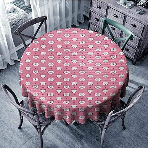 Sumilace Cat Natural Tablecloth Adorable Funny Kitten Faces Expressions Smiling Furry Cartoon Characters on Polka Dots Wedding 63