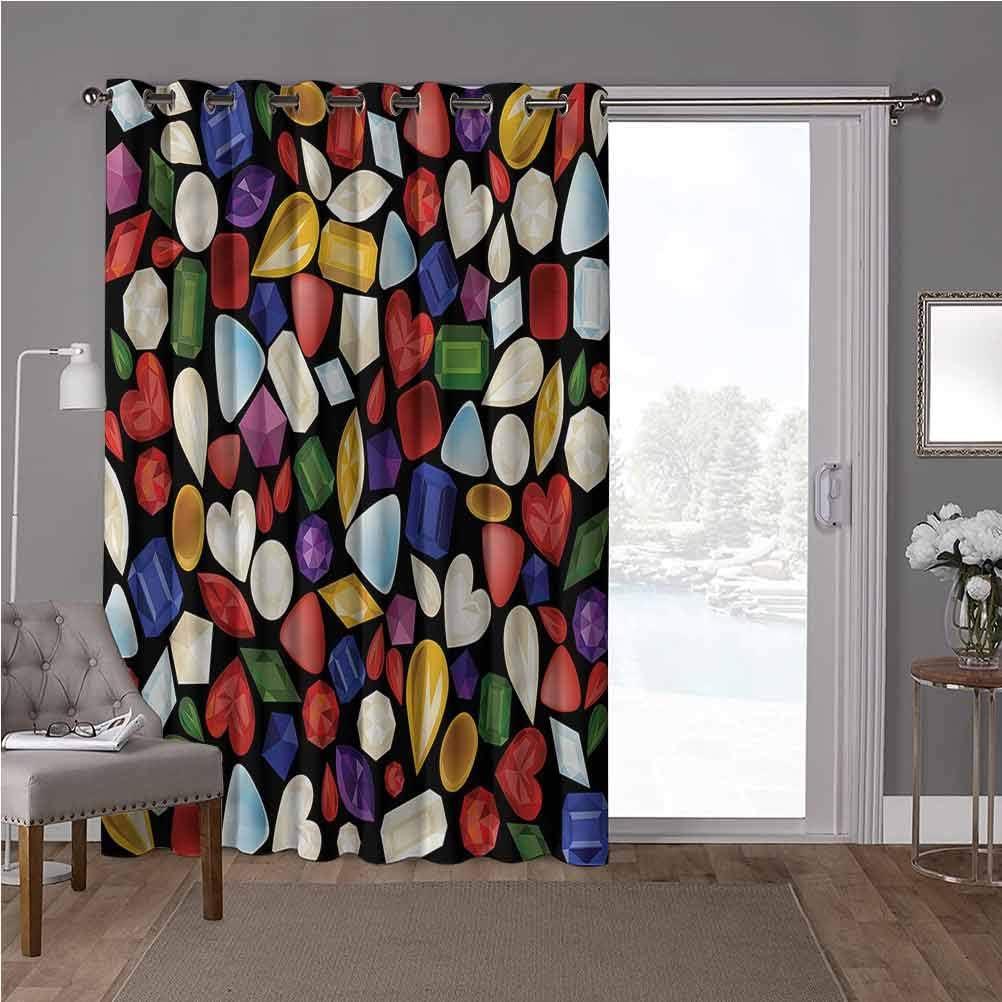 YUAZHOQI cortinas correderas de cristal, diamantes, piedras preciosas gráficas, 100 x 108 pulgadas, privacidad vertical para sala de estar (1 panel)