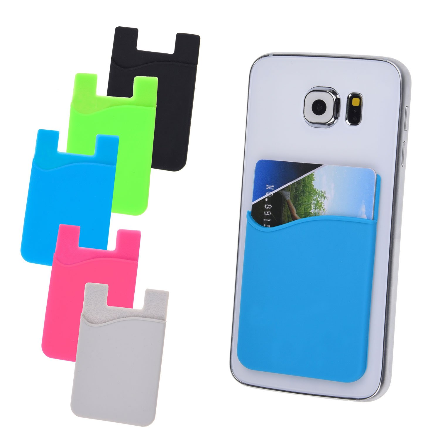 Credit Card / ID Card Holder - Attach to any Phone - Carry your Essential Cards with your Phone - Silicone Material, cards will not fall out - 3M sticker - with Safe Flight Cloth and Retail Package