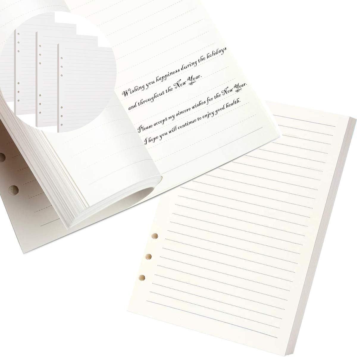 Nachf/üllpapier Leere Nachf/üllseiten Refill Paper Ersatzbl/ätter 6 L/öcher 180 Bl/ätter Nachf/üllbare Refill Paper Nachf/ülleinlagen A5 Papier Horizontale Linie