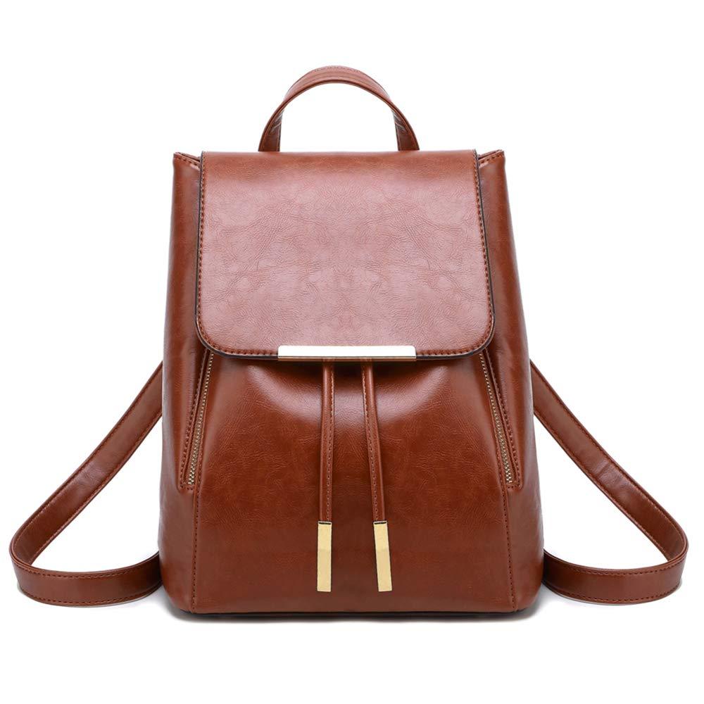 WINK KANGAROO Fashion Shoulder Bag Rucksack PU Leather Women Girls Ladies Backpack Travel bag (Brown 2)
