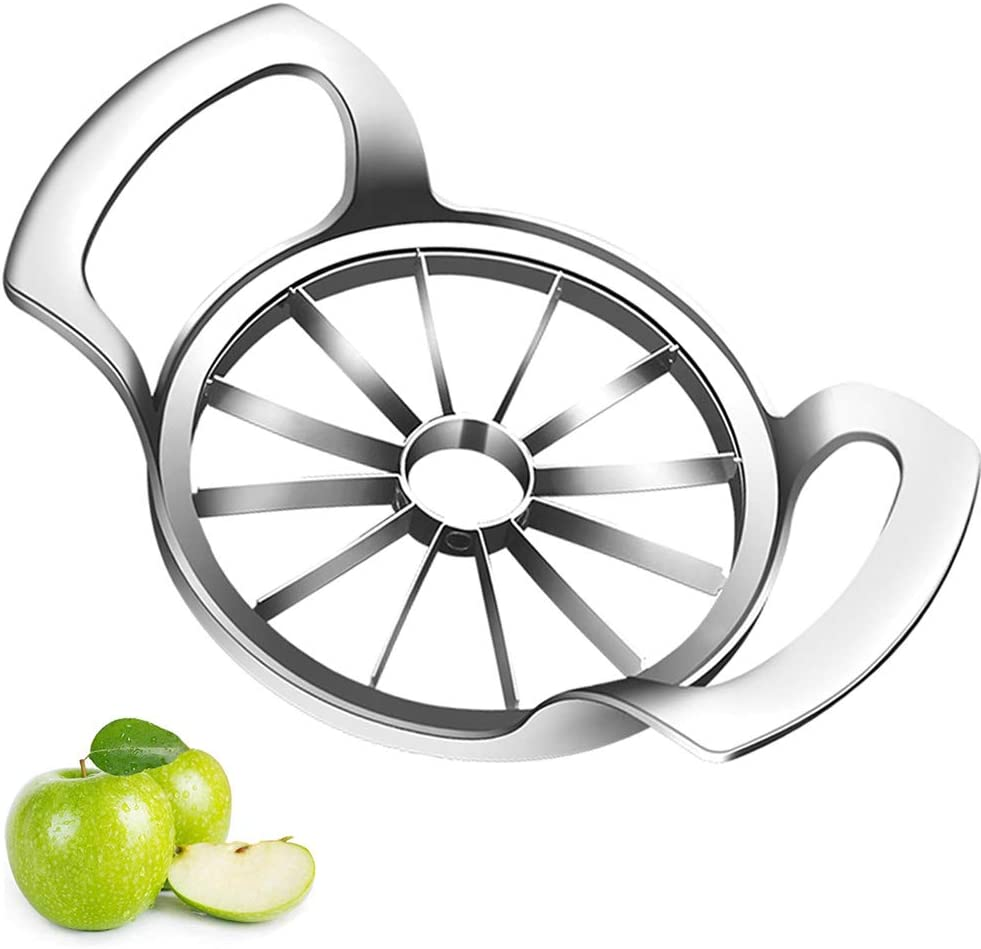 Apple Slicer Upgraded Version 12-Blade Extra Large Apple Corer Peeler,SANDEWILY Food Grade 304 Stainless Steel Ultra-Sharp Apple Cutter for Up to 4 Inches Apple and Pear,Silver