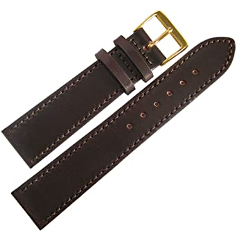 e7e6ea2c3 Fluco Horween Shell Cordovan 18mm Brown Leather Gold Buckle Watch ...