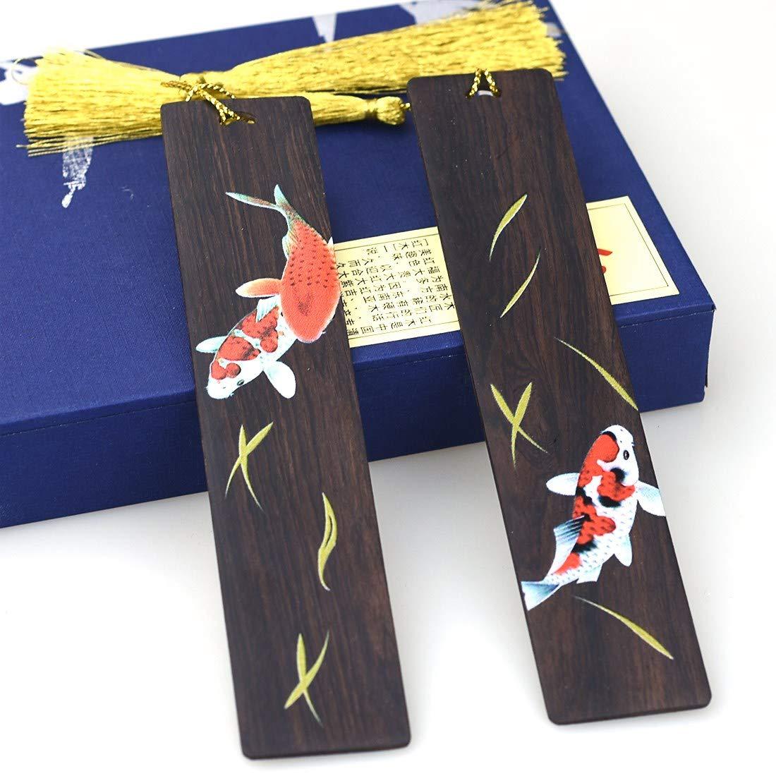 Marcador de madera hecho a mano 2pcs Set marcador de p/ágina grabado para amantes de los libros