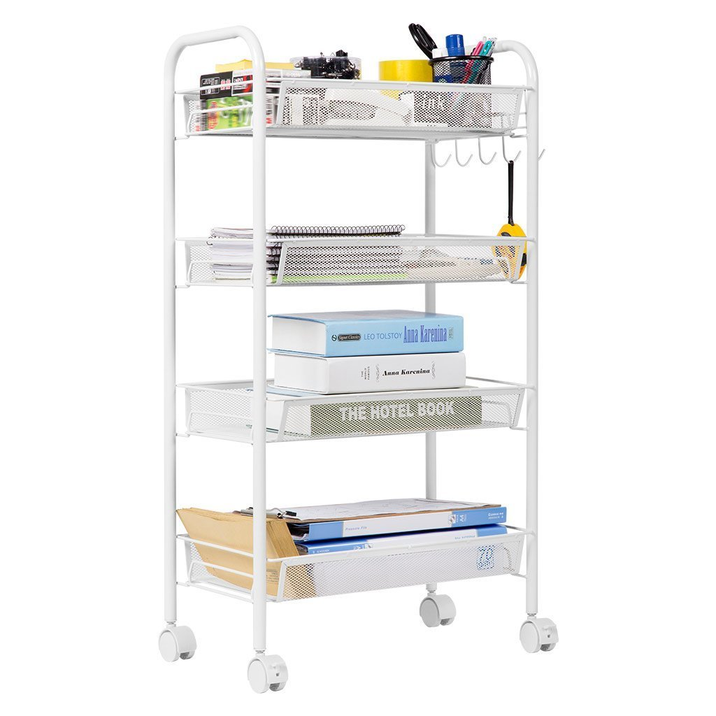 LANGRIA 4-Tier Gap Kitchen Storage Slim Slide Out Tower Rack Shelf with wheels, Utility Trolley Organization Serving Cart on Casters