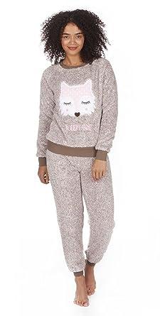 eb445fbab81 Daisy Dreamer Ladies Snuggle Fleece Pyjamas, Two Tone Owl Fox PJ Set ...