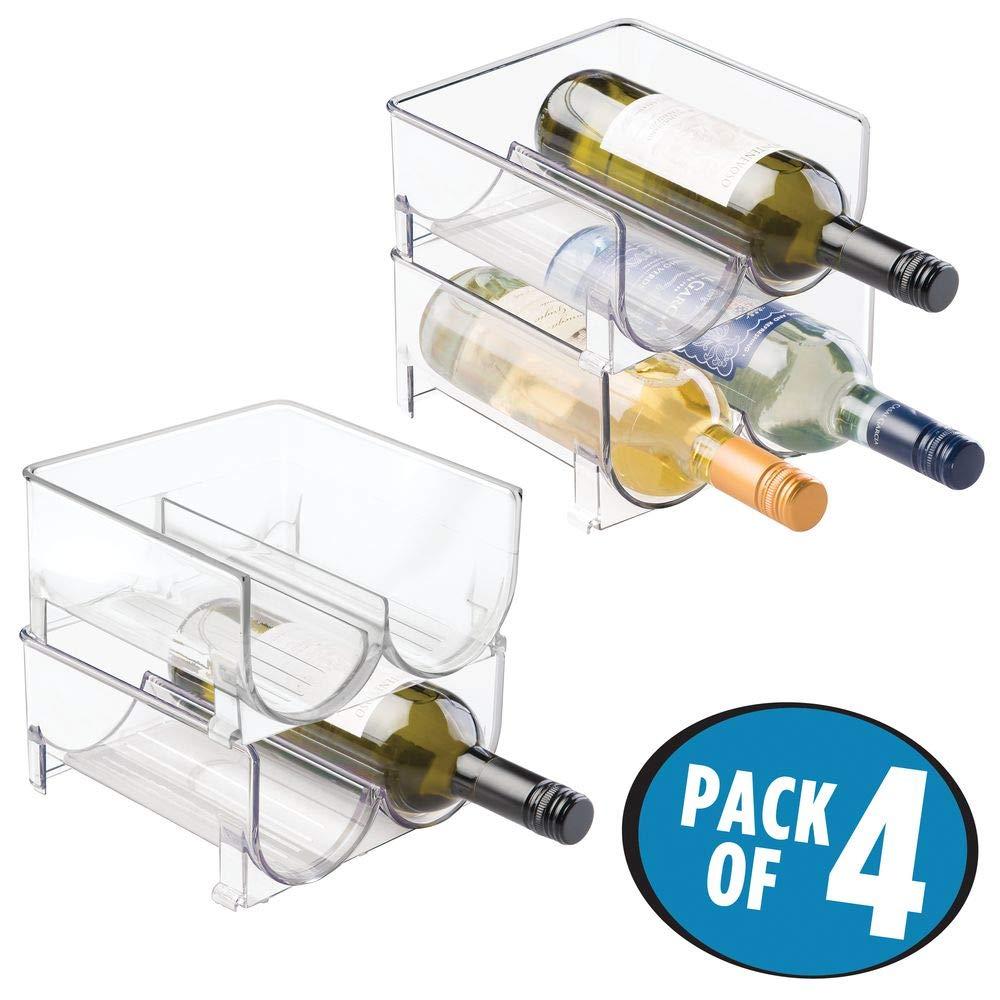 stapelbare Aufbewahrung f/ür Weinflaschen und andere Getr/änke transparent mDesign 2er-Set Flaschenregal modernes Weinregal aus Kunststoff f/ür 4 Flaschen